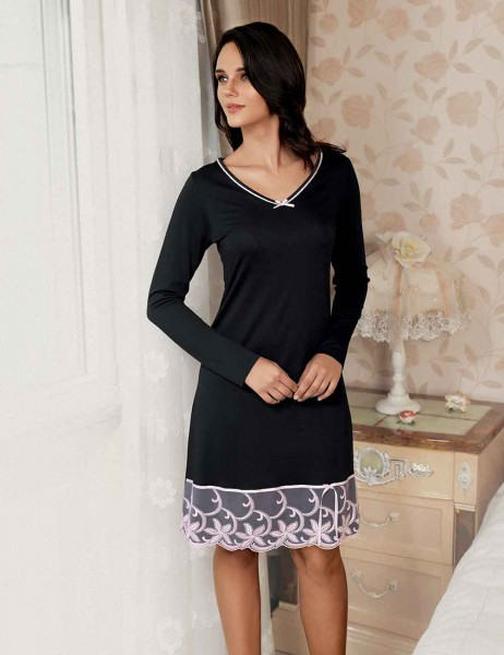 Şahinler - Sahinler Zakkum Morning Gown & NightgownSet Black MBP22406-1