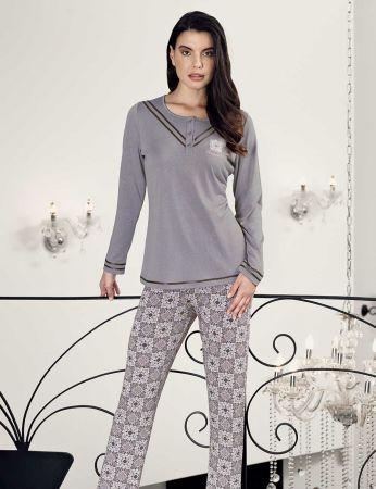 Şahinler - Şahinler Zakkum Nakışlı Bayan Pijama Takımı MBP24407-1
